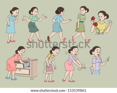 Set of funny cartoon housewife in various poses, illustrator Vector - stock vector