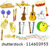 Set of funny cartoon musical instruments - stock photo