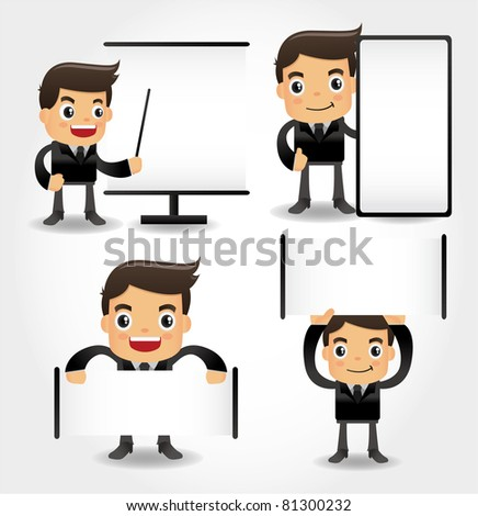set of funny cartoon office worker icon - stock vector