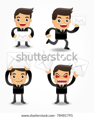 set of funny cartoon office worker with email icon - stock vector