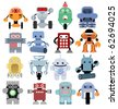 Set of funny cartoon robots - stock vector