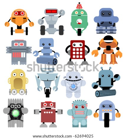 Set of funny cartoon robots
