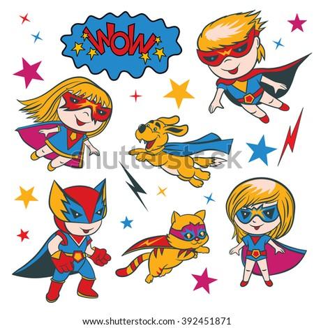 Set of funny cartoon superhero character and elements. - stock vector