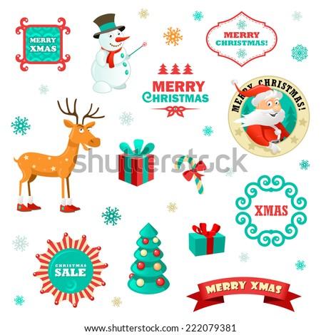 Set funny christmas elements vector illustration stock vector hd set of funny christmas elements vector illustration for xmas greeting cards m4hsunfo