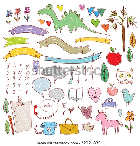 Set of funny colored sketches brown contour on a white background. vector - stock vector