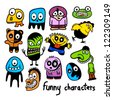 Set of funny colorful cartoon characters. - stock vector