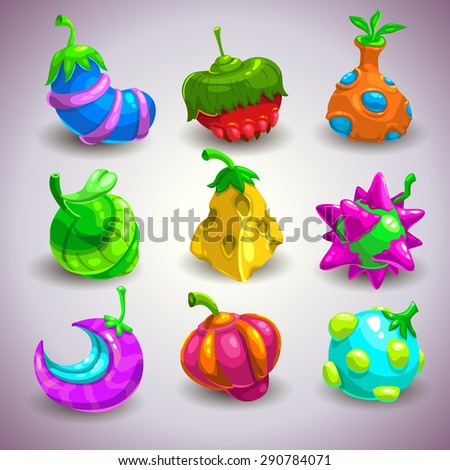 Set of funny colorful fantasy fruits, vector illustration - stock vector