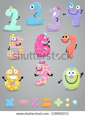 Set of funny colorful figures (numbers) with eyes and hands and some punctuation marks - stock vector