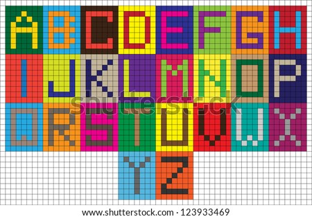 set of funny colorful vector digital alphabet letters isolated on grid paper