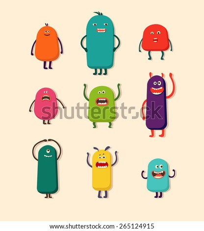 Set of funny cute cartoon monsters with different emotions. Vector illustration.Isolated  - stock vector