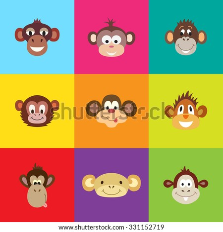 Set of funny cute monkey. Animal Portrait. Vector illustration