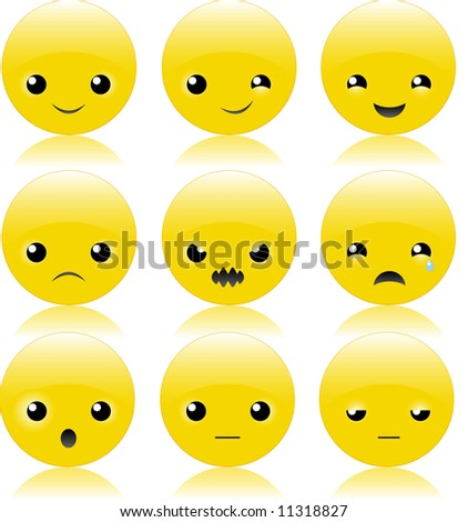Set of funny cute smiling glossy face icons - stock vector