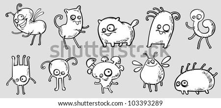Set of funny fantastic creatures - stock vector