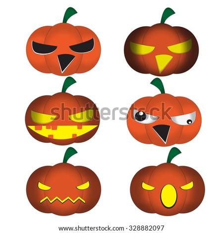 Set Funny Halloween Cartoons Cute Jackolantern Stock Vector ...
