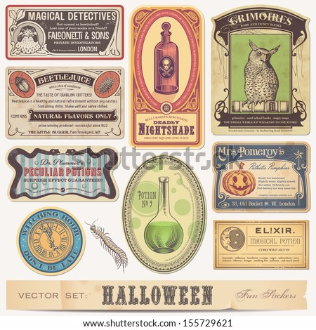 set of funny halloween stickers/labels - stock vector