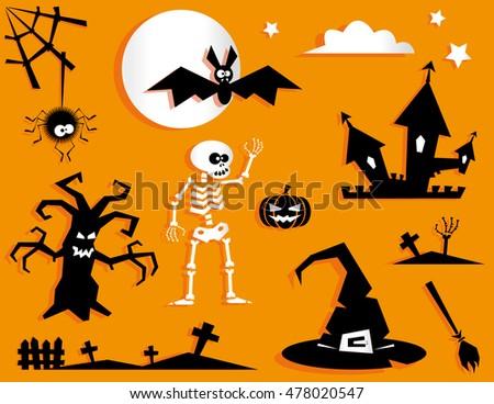 Set Funny Halloween Symbol Pumpkin Bat Stock Vector 478020547 ...