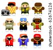 Set of funny hip-hop cartoon characters. Isolated on white. - stock photo