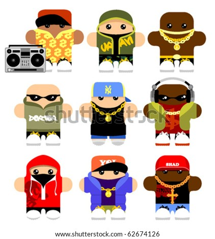 Set of funny hip-hop cartoon characters. Isolated on white. - stock vector