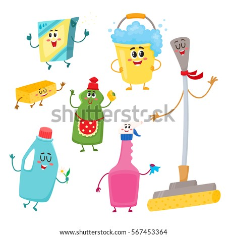 Set Funny House Cleaning Characters Detergents Stock