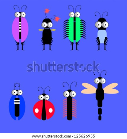 Set of funny insects - stock vector