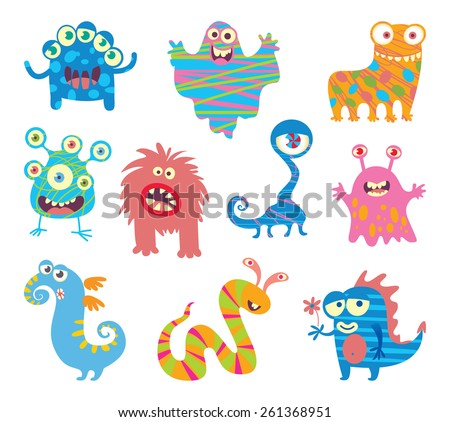 Set of funny little monsters. Funny cartoon character. Vector illustration. Isolated on white background - stock vector
