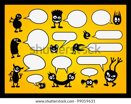 Set of funny monsters and speech bubbles. - stock vector