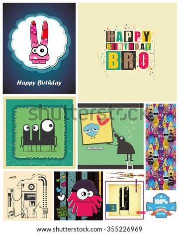 Set of funny monsters. Gift cards,  invitation, cartoon illustration - stock vector