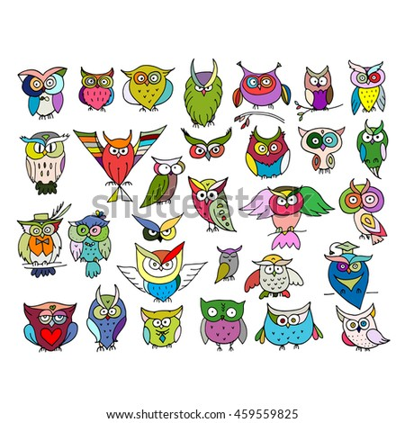 Set of funny owl collection for your design - stock vector