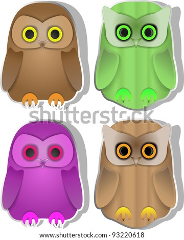 Set of funny owls - stock vector