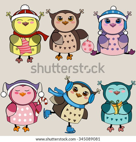 Set of funny owls for winter design. Vector illustration for Christmas design.  - stock vector