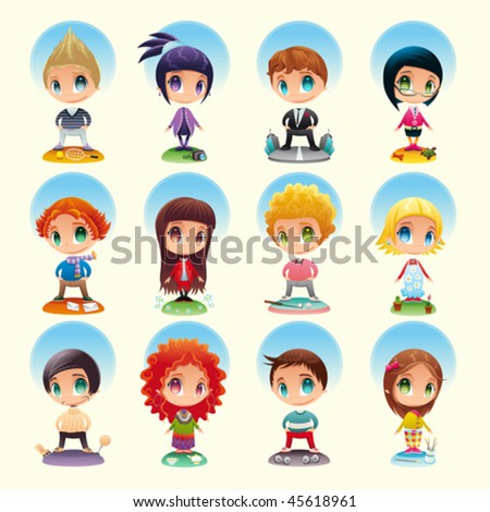 Set of funny people with characteristic objects. Cartoon and vector characters with background, isolated objects. - stock vector