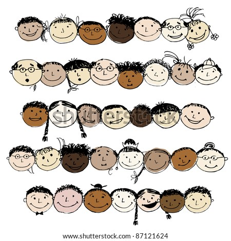 Set of funny peoples, sketch for your design - stock vector