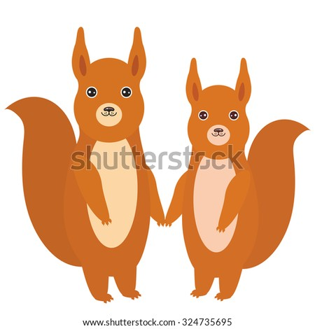 Set of funny red squirrels with fluffy tail isolated on white background. Vector - stock vector