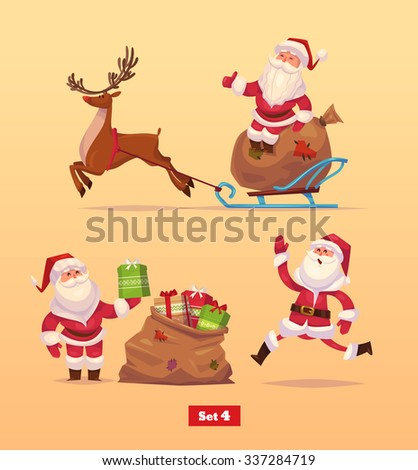 Set of Funny santa,deer and presents. Christmas greeting card background poster. Vector illustration. Merry christmas and Happy new year. - stock vector