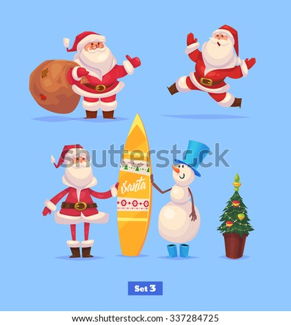 Set of Funny santa snowman and presents. Christmas greeting card background poster. Vector illustration. Merry christmas and Happy new year. - stock vector