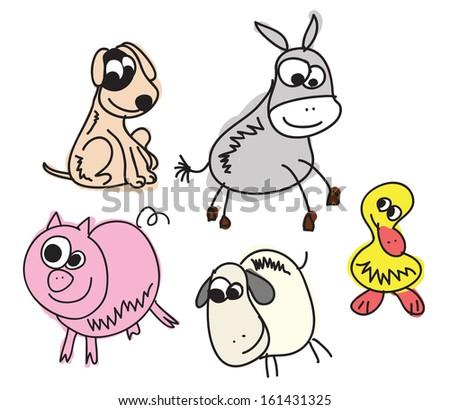Set of Funny Sketch Animals Illustration - stock vector