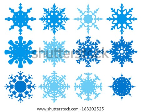set of funny snowflakes for Christmas design - stock vector