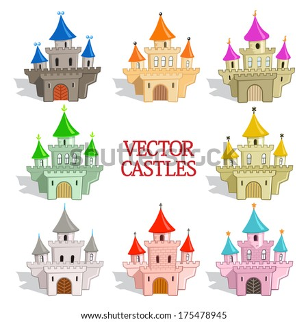 Set of Funny Vector Castles for Game Design or Maps. Cartoon vector illustration in eps8 format - stock vector