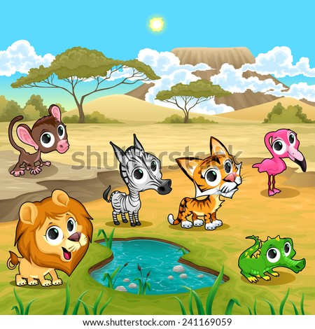Set of funny wild animals in the nature. Vector and cartoon illustration. - stock vector