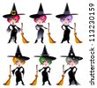 Set of funny witches. Cartoon and vector isolated characters. - stock photo