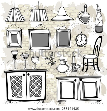 Set of furnishings and details of European cafe or restaurant. Can be used for curtains, wallpaper, pattern fills, web page background, surface textures. - stock vector