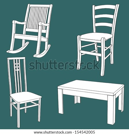 Set of furniture on the chalk board - stock vector