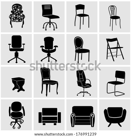 Set of furniture silhouettes - stock vector