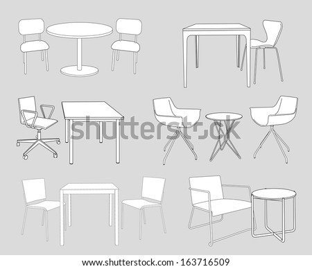 set of furniture. tables and chairs. sketch vector illustration  - stock vector