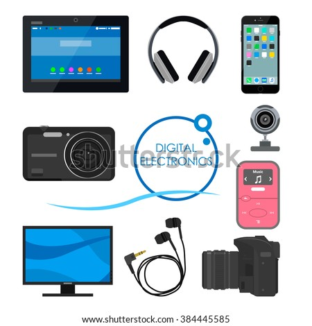 Set of gadgets and consumer electronic devices. Vector illustration in flat style. Design items and icons, phone, computer, camera, tablet, headphones. - stock vector