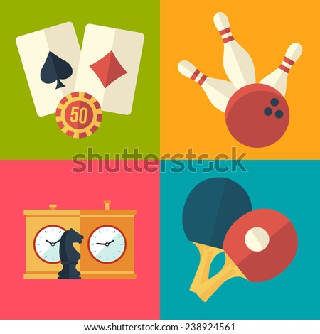 set of game and entertainment icons - stock vector