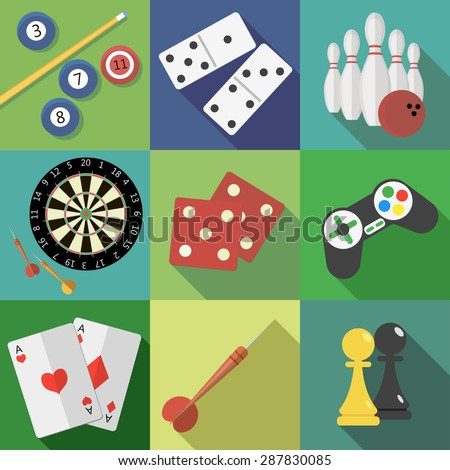 Set of game and sport icons in flat design - stock vector
