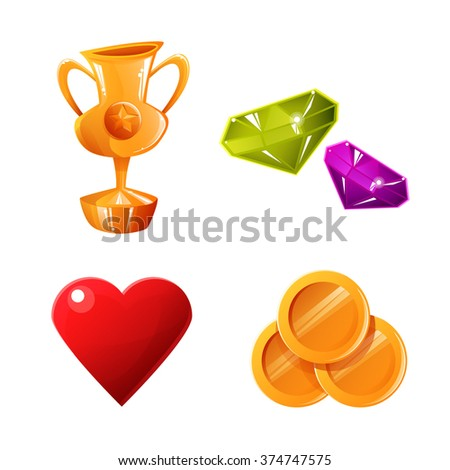 Set of game elements. Vector illustration of coins, heart, jewel and cup - stock vector