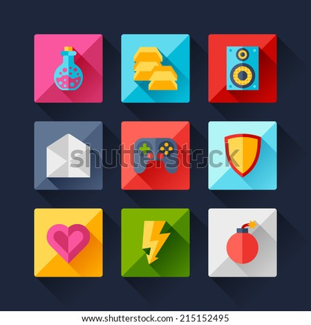 Set of game icons in flat design style. - stock vector