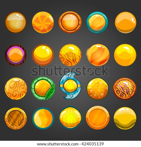 Set of game interface button color. Button for web or game design. - stock vector
